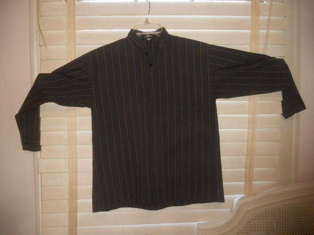 Eskandar UK Bergdorf Goodman  Art to Wear  Boxy Dark Stripe Cotton Blouse  0