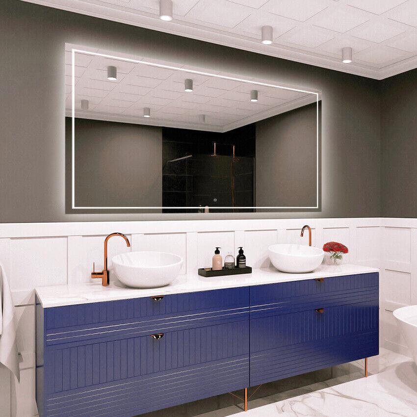 LED Iluminado Interruptor Táctil Espejo de parojo baño tamaño variantes-Deluxe M1ZD-48