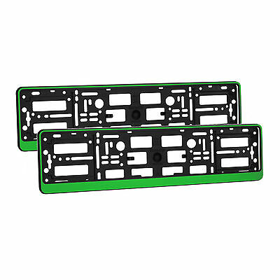 2 x Universal Number Plate Holders Surrounds Frames Any Car - Green Effect