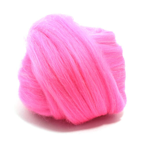 100g DYED MERINO WOOL TOP BARBIE PINK DREADS 64's SPINNING FELTING