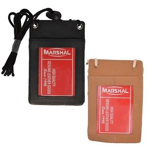 Genuine-Leather-ID-Badge-Holder-Lanyard-Neck-Strap-Credit-Card-License-Wallet