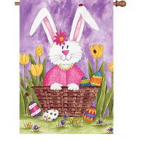 Easter Bunny Eggs Tulips Crocus Flower Ladybug House Flag 40 X 28