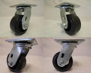 4 4 x 2 Swivel Casters Rubber Wheel on Steel Hub  Brake 350lb each Tool Box
