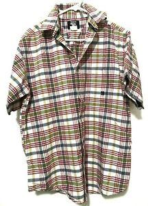 Wrangler-Twenty-X-Mens-Western-Plaid-Flannel-Short-Sleeve-Dress-Shirt-White-Sz-L