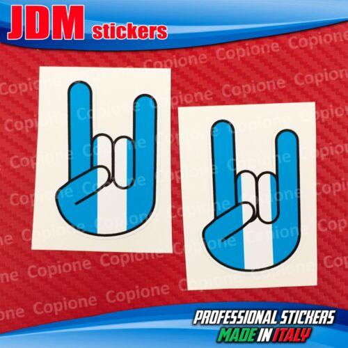 2 Adesivi STICKER BOMB Shocker rocker hand corna auto motoBianco Azzurro LAZIO