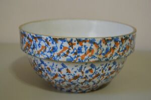 "Stoneware Sponge Confetti Splatter Vintage Pottery Bowl 7"" Orange Blue Kitchen"