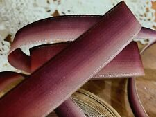 "VINTAGE 1.5/"" FRENCH RIBBON wire OMBRE 1yd BURGUNDY Mauve Rose"