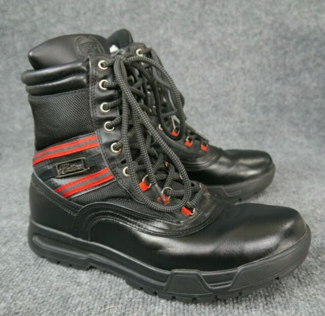 23e88ac658a Cadillac Men's Black Leather Lace-up BOOTS With Red Stripes Size US 10