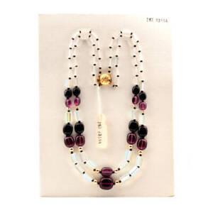 Vintage-2-strand-necklace-AB-pentagon-crystal-black-amethyst-Czech-glass-beads