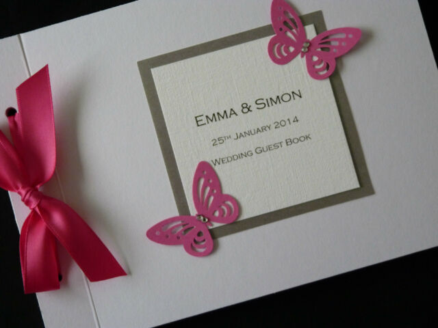 Personalised Handmade Wedding Guest Signing Book Large Butterfly Diamantee