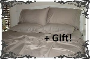 Queen-King-Bed-Sheet-Set-100-Natural-Eco-Bamboo-TAUPE-hypo-allergy-towel-gift