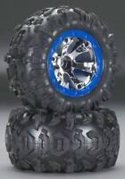 Traxxas 1/16 Summit Canyon Tires & Geode Chrome Wheels W/ Blue Beadlock 7274