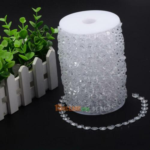 33FT//Roll Garland Diamond Acrylic Crystal Bead Curtain Wedding Party DIY Decor