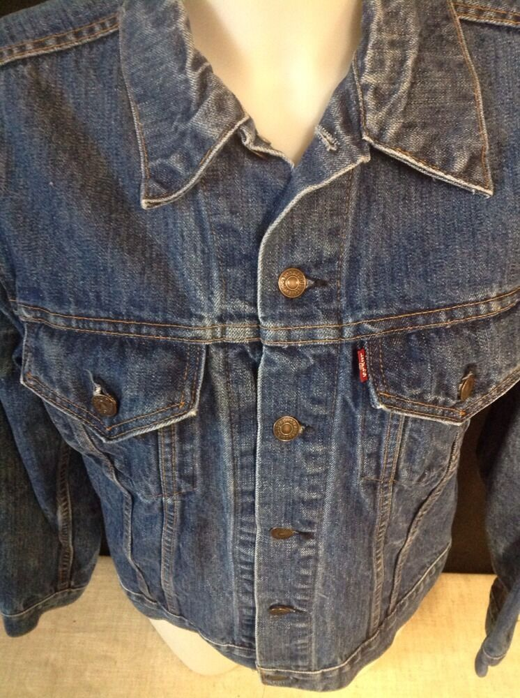 VINTAGE LEVIS JEAN Jacket Denim TRUCKER Made In U… - image 2
