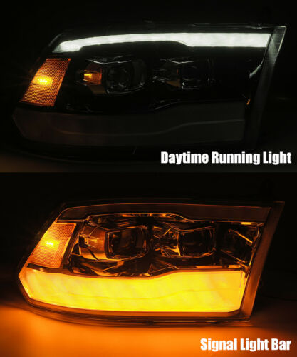 For 2009-2018 Dodge Ram Chrome LED DRL Dual Projector Headlights Left//Right Pair