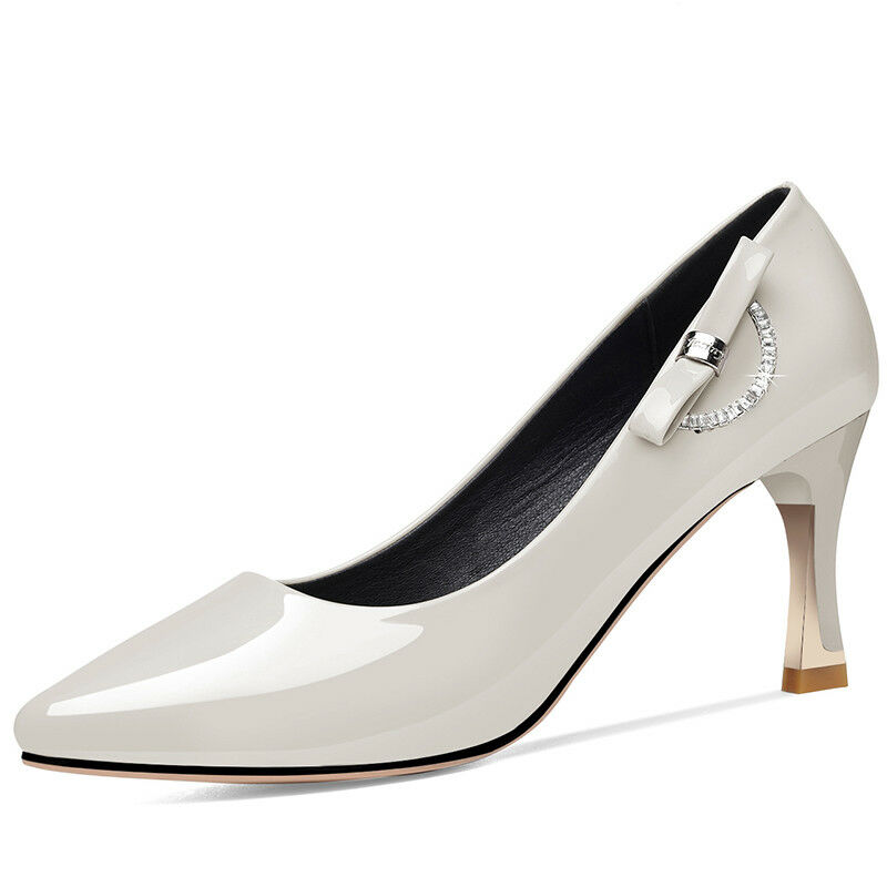 Quality Womens Patent Leather Pointed Classic Pumps Kitten shoes Fashion Casual