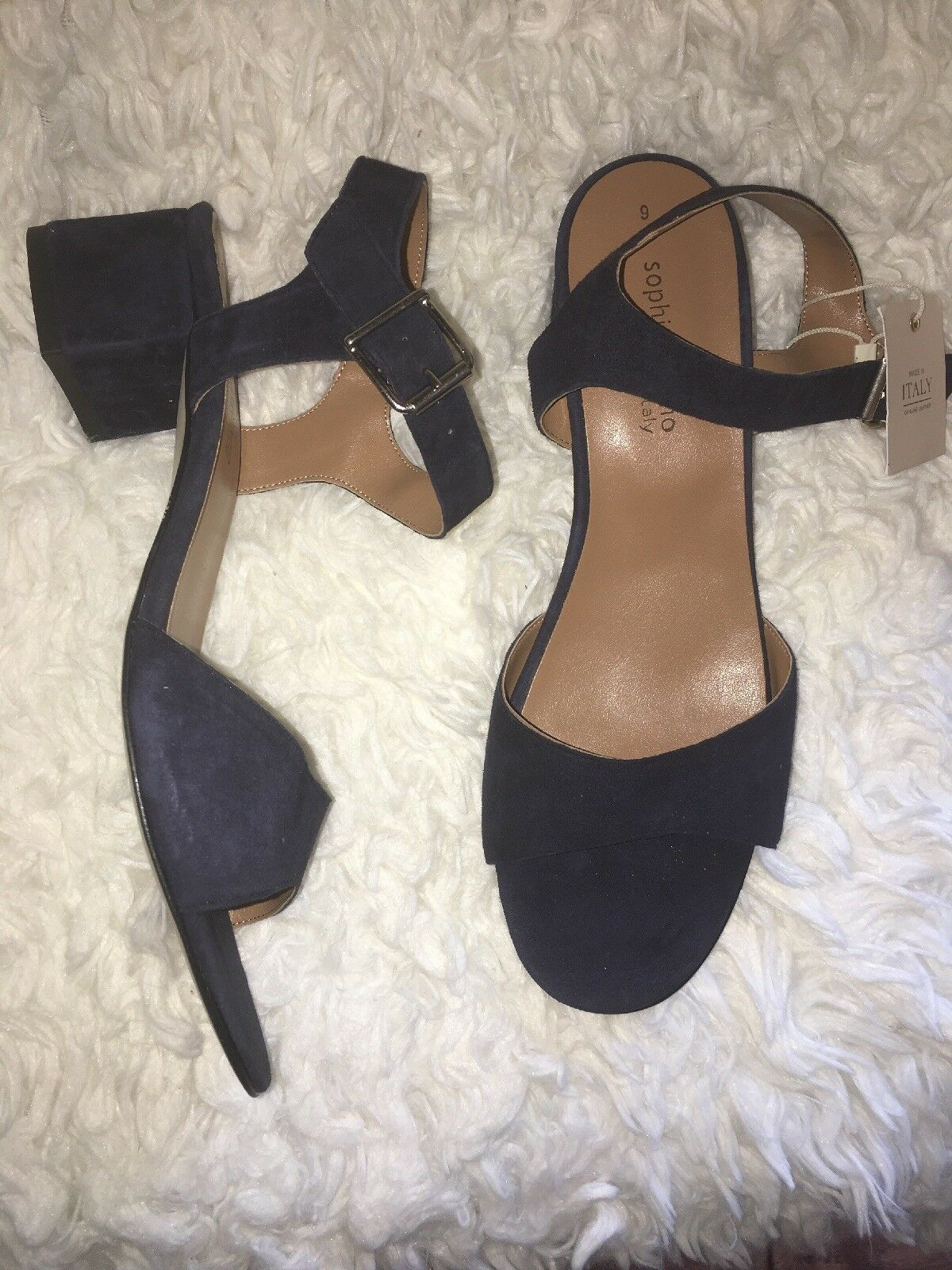Sophia Milano navy bleu suede sandals ankle strap stacked heel Taille 9