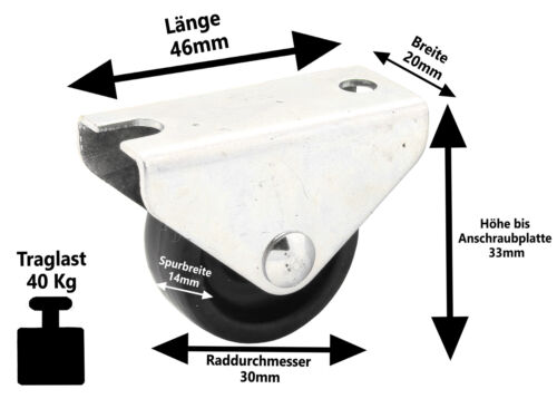 Möbelrolle Kastenrolle Lenkrolle Ø 15 25 30 40 50 mm Mini Transport Lauf Rollen