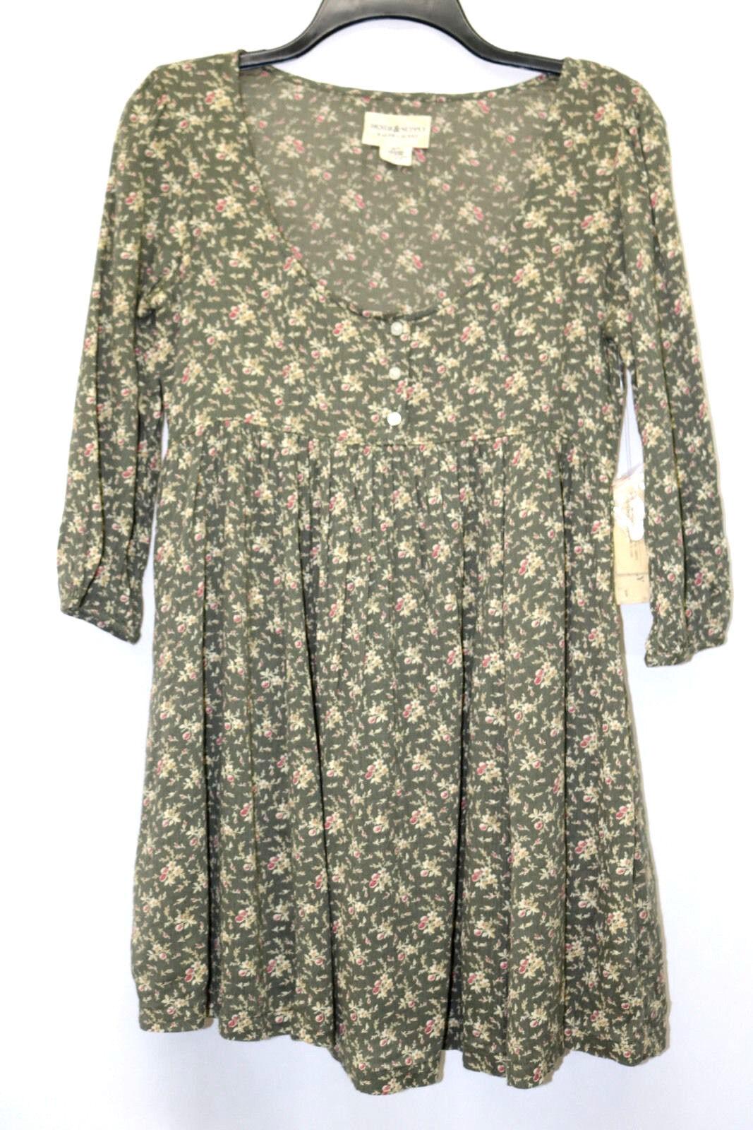 Denim & Supply Ralph Lauren Dress Tunic Floral Print Henley Linden Olive Size XS