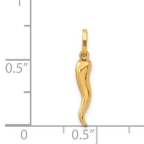 14k or Jaune Italian Horn Charm 20x3mm 0.19 g