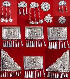 Tribal-exotic-chinese-handmade-miao-silver-costume-jewellery-DIY-ornament-1piece