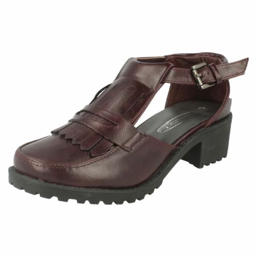 LADIES SPOT ON F9R728 BUCKLE STRAP FRINGE VAMP LOW CHUNKY HEEL CASUAL SHOES