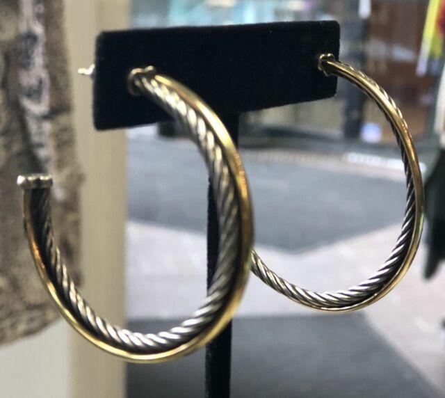 Designer Inspire 2 Tone 925 Sterling Silver Crossover 44mm LARGE Hoop Earrings