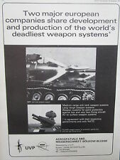 9/71 PUB UVP EUROMISSILE AEROSPATIALE MBB ROLAND AIR DEFENSE HOT ANTI TANK AD