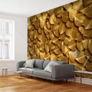 Details Zu Vlies Fototapete Laub Natur Gold Silber Tapete Wandbilder Xxl Wohnzimmer 3 Farbe