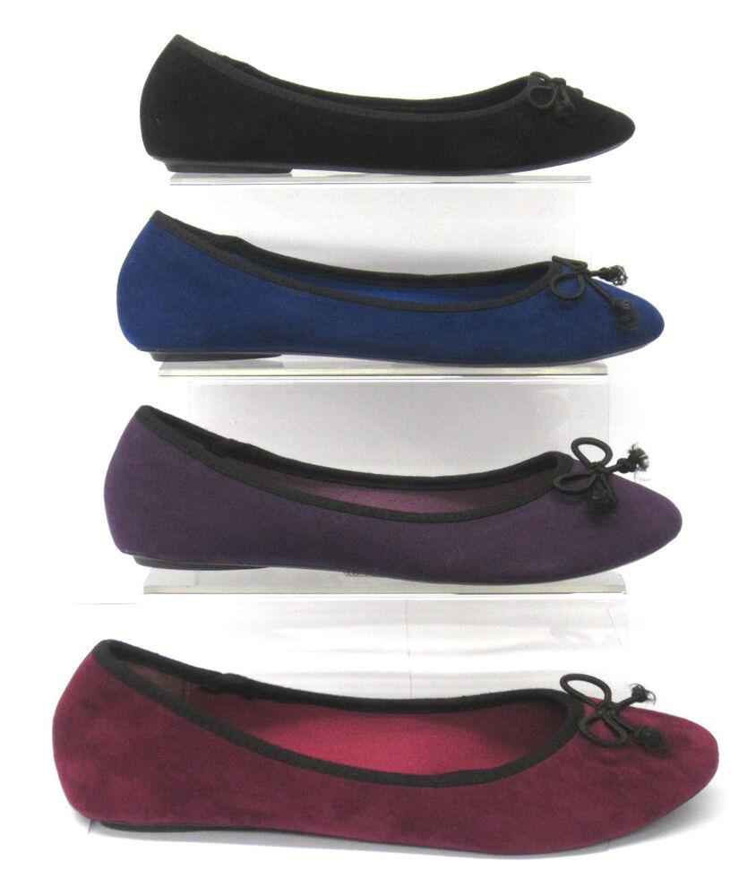 * Vente * Femmes Spot On Suédine Nœud Bordure Plat Ballerine Chaussures-f8855