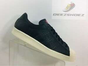 adidas superstar black white red