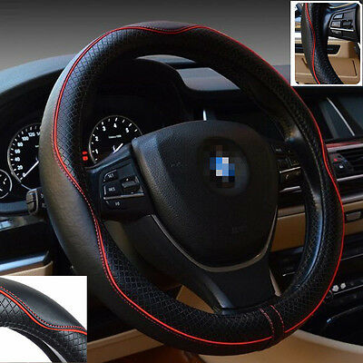 38cm Car Leather Steering Wheel Cover Universal Breathable An-ti Slip Grip Hit