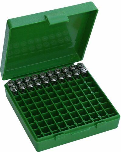 380//9MM Cal 100 Round Flip-Top Gun Pistol Ammo Box Container Snap-Lock USA Made