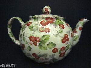 Heron-Cross-Pottery-Strawberry-Cream-Chintz-6-8-Cup-English-Tea-Pot-4-5-mugs