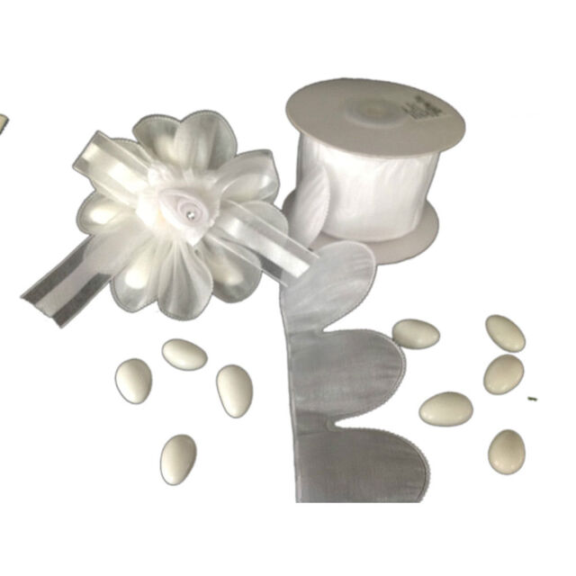 White Flower Pull Jordan Almonds Candy Bow Ribbon Decorations