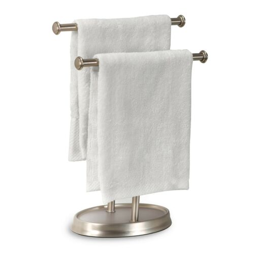 New Contemporary Nickel Double 2 Tier Bath Hand Towel Tree Stand Holder