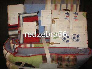Pottery Barn Kids Junior Varsity Crib Quilt Bumper Sheets