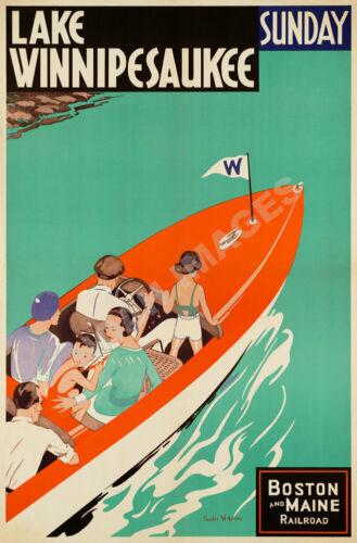 Lake Winnipesaukee Boston Maine Railroad vintage train travel poster repro 16x24