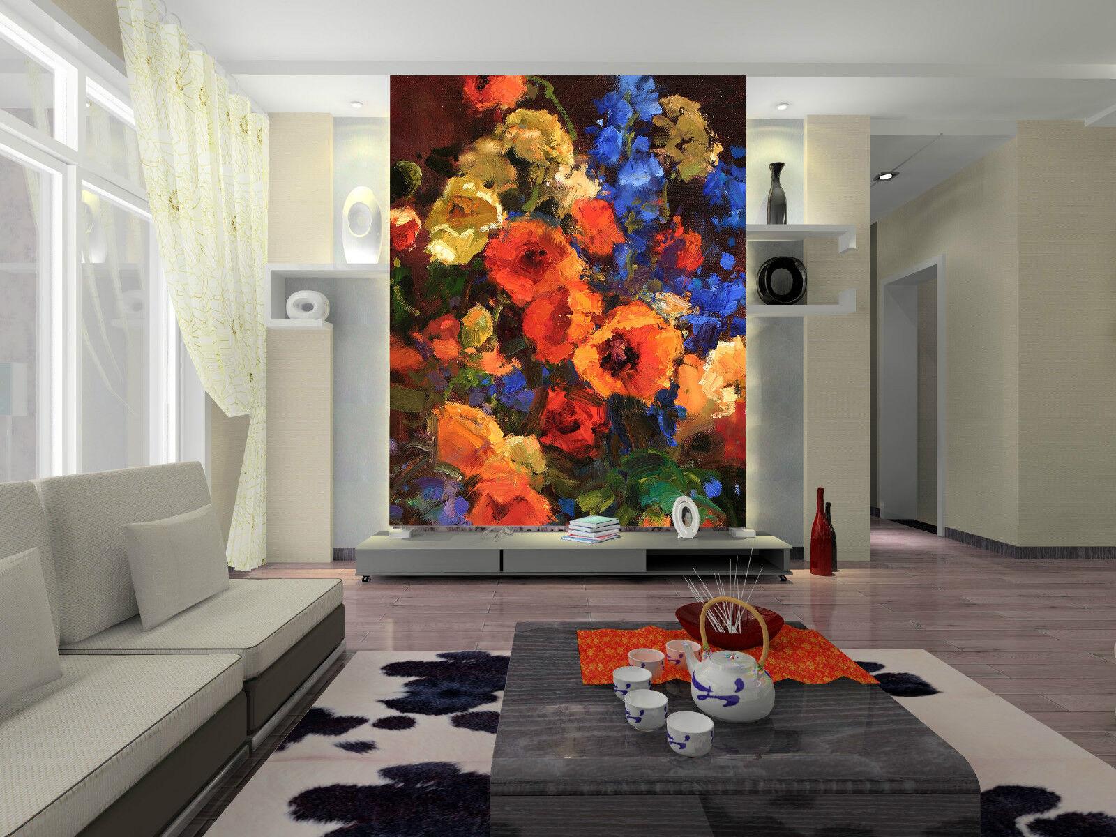 3D Umgeben von bluemen 3667 Fototapeten Wandbild Fototapete BildTapete Familie