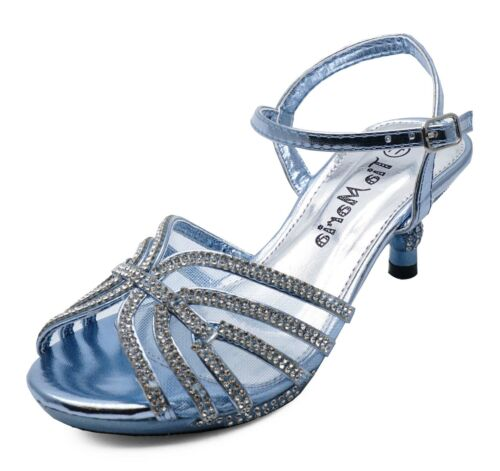 GIRLS KIDS BLUE DIAMANTE LOW-HEEL SANDALS PRETTY PARTY DRESS SHOES UK 10-2