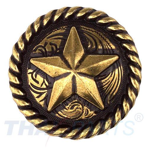 Concho #016 30mm Altmessing Western Stern Star Conchos mit Seilrand Concha Westernsättel, -zäume & Zubeh.
