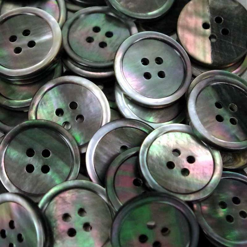 20 x 13mm grey mother of pearl shell buttons with two holes