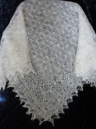 Genuine Russian Orenburg Handknitted Wool Lace Shawl Scarf Snow Frost Design