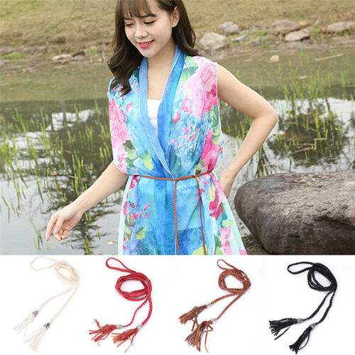 Women Simple PU Leather Tassel Braided Self-Tie Belt Thin Waist Rope Belt Z sp