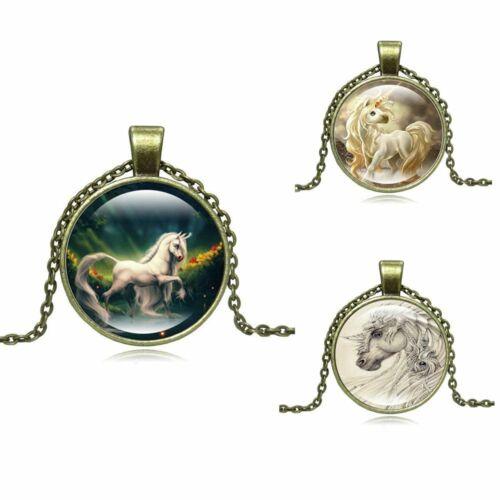 bronze lange kette cabochon glas halskette steampunk einhorn pegasus anhänger