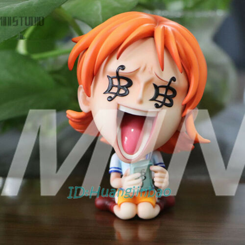 One Piece Nami Counting Money Simling Statue Painted Model MINI-Studios In Stock