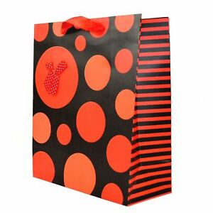 Image Is Loading Large Gift Bags Red Polka Dots Paper