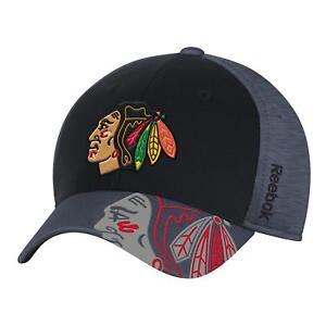 d4aff3c8966 Image is loading Chicago-Blackhawks-Structured-Flex-Fit-Cap-Adult-Hat-