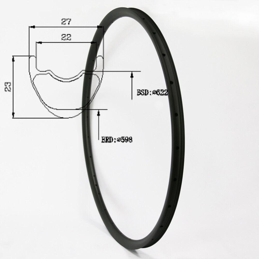 29er Carbon Fiber Mountain Bike Rim 27mm Width 23mm Depth 28 32Hole Tubeless UD
