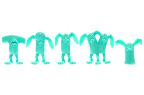 ALEX PARDEE - BUNNYWITH mini PVC Figure - GREEN - Bunny  &   STICKER SET 5 piece